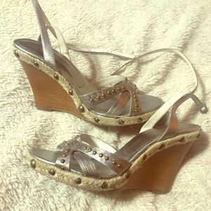 Guess Silver Strappy Wedges